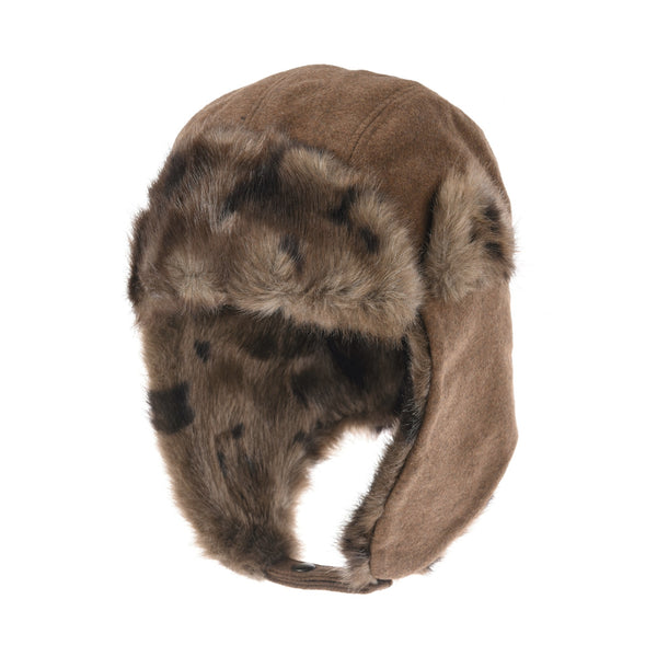Wool Russian Hat Winter Trapper Cap Faux Fur