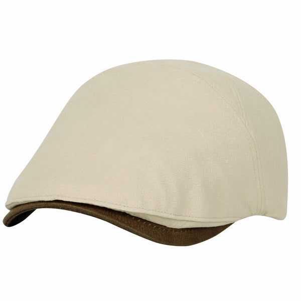 Basic Newsboy Hat Faux Leather Brim Adjustable Flat Cap