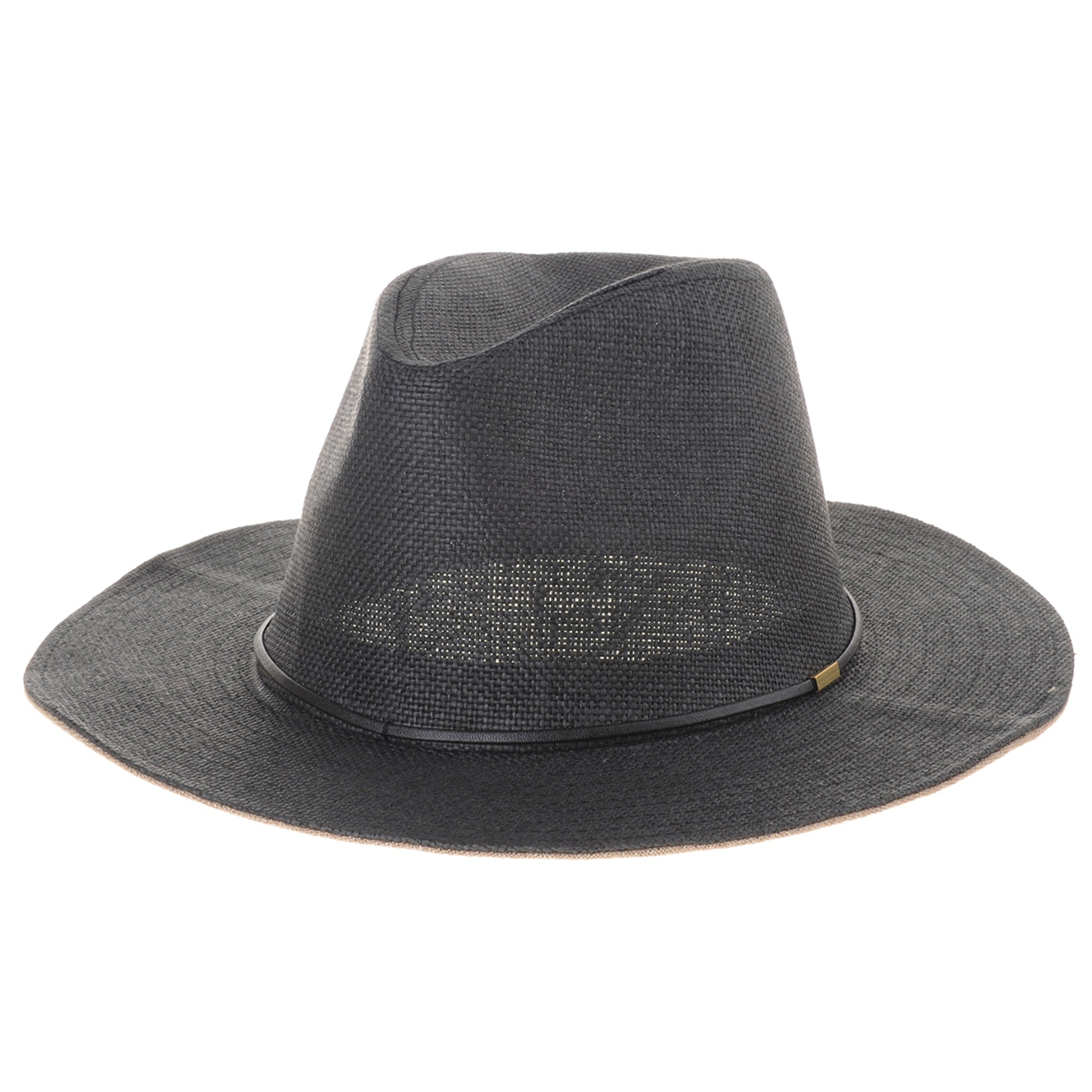 Fedora Panama Hat Faux Leather Banded Wide Brim