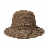 Women Flanging Straw Sun Hat Bocassi Summer Bowler Beach Cap