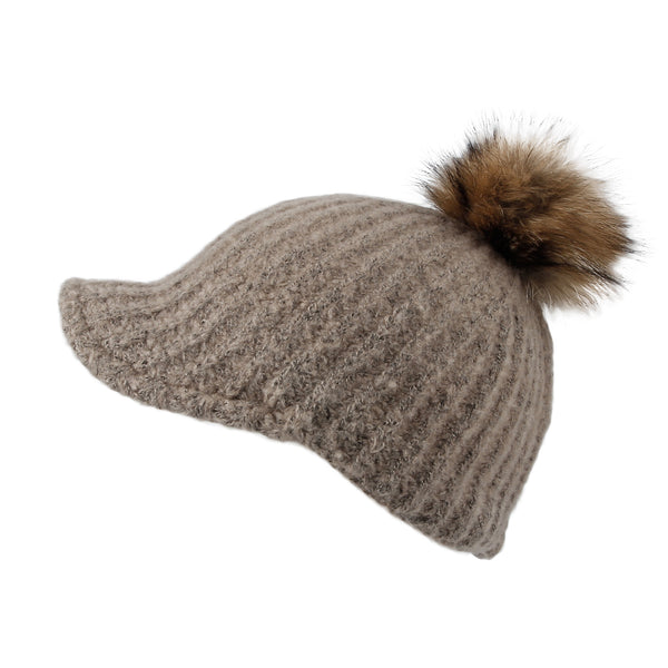 Women Ribbed Visor Knit Pom Beanie Hat Winter Warm Cap