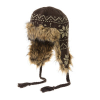 Knit Fleece Fairs Isle Nordic Ear Flap Pom Beanie Hat