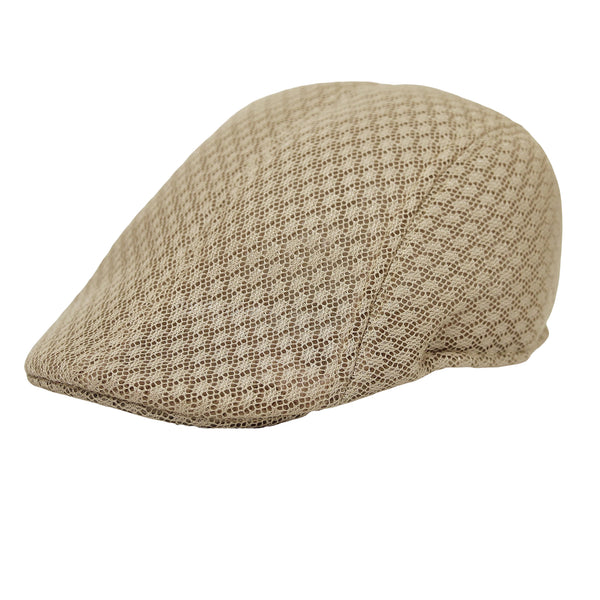 Men Breathable Mesh Summer Hat Newsboy Cap Cabbie Cap