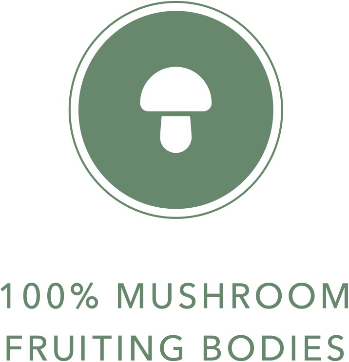 mushroom icon with 100% Fruiting Bodies text