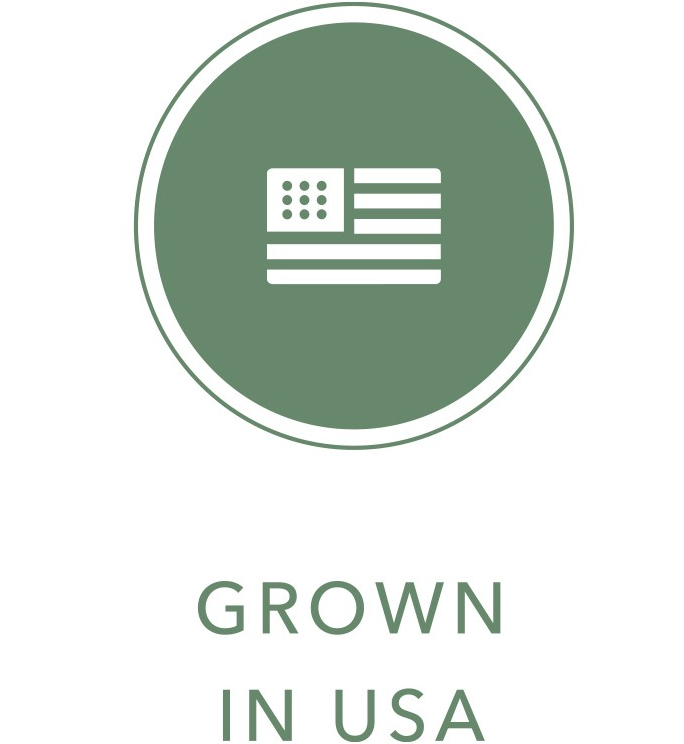 USA flag icon with Grown in USA text