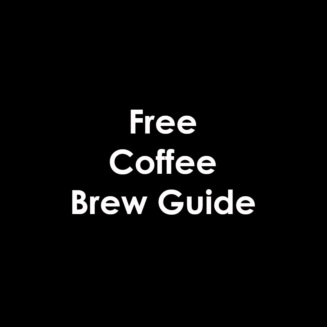 Image of a cup of black coffee with an open notebook next to it that says brew guide and has a sketch of a french coffee press below it