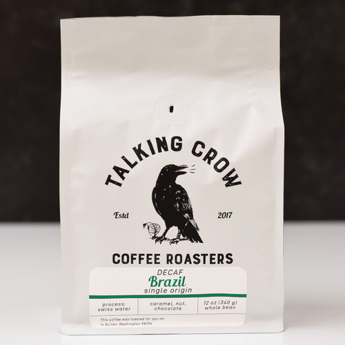 12 oz bag of Talking Crow Coffee Roasters Single Origin Swiss Water Process Decaf Brazil whole bean coffee