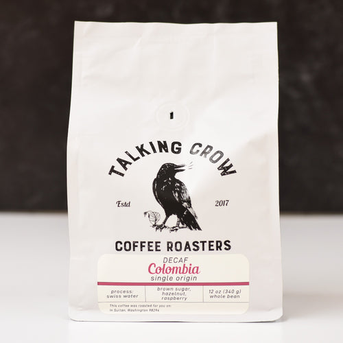 12 oz bag of Talking Crow Coffee Roasters Single Origin Swiss Water Process Decaf Colombia whole bean coffee