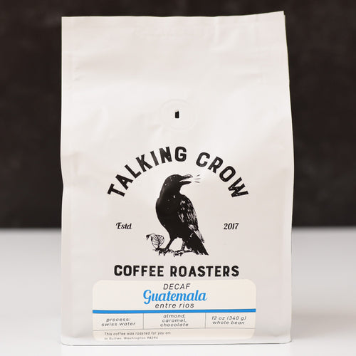 12 oz bag of Talking Crow Coffee Roasters Single Origin Swiss Water Process Decaf Guatemala whole bean coffee