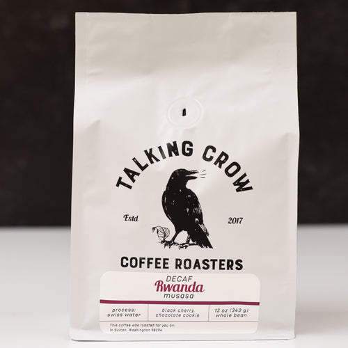 12 oz bag of Talking Crow Coffee Roasters Single Origin Swiss Water Process Decaf Rwanda whole bean coffee