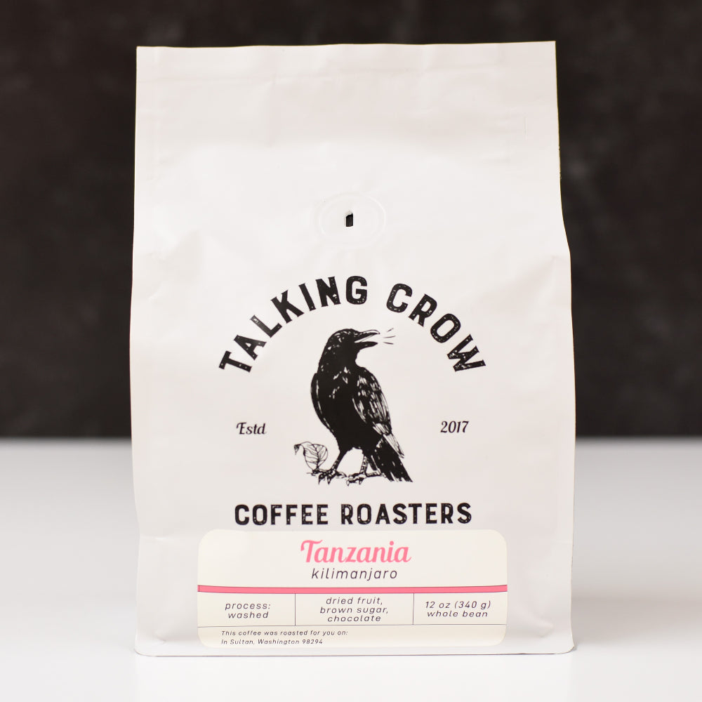 12 oz bag of Talking Crow Coffee Roasters Single Origin Regular Tanzania whole bean coffee