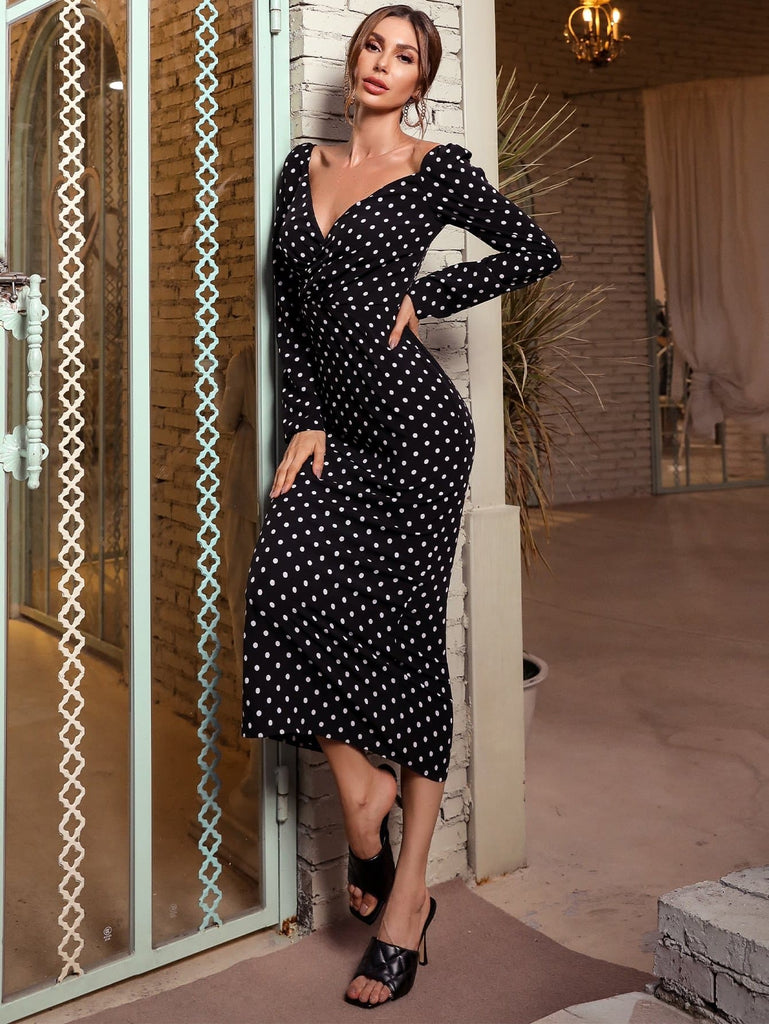 Missord Sweetheart Neck Polka Dot Bodycon Dress