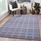 Grey, Check Pattern, Rectangle, PEQURA Rug