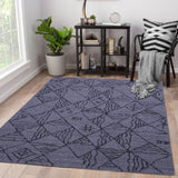 Grey and Black, Rectangle, Geometric Pattern, Wool PEQURA Rug