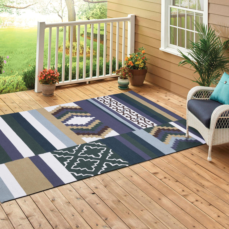 Multi-colour, Flat, Hand-woven, Wool Rug