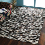 Beige and Dark Brown, Hand Patchwork, Leather PEQURA Rug