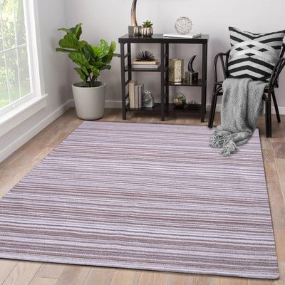 Beige and Brown, Hand-woven, Rectangle, Wool Rug
