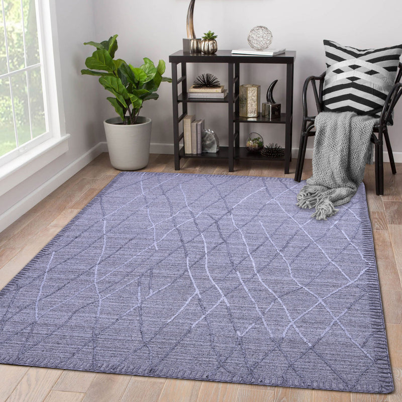 Natural Grey and Geometric Pattern, Wool Rug
