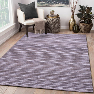 Beige and Dark Brown, Hand-woven, Wool Rug