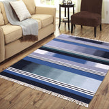 Blue, Black, and Beige, Hand-woven, Rectangle Rug