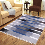 Blue, Black, Grey and Brown, Rectangle, PEQURA Rug