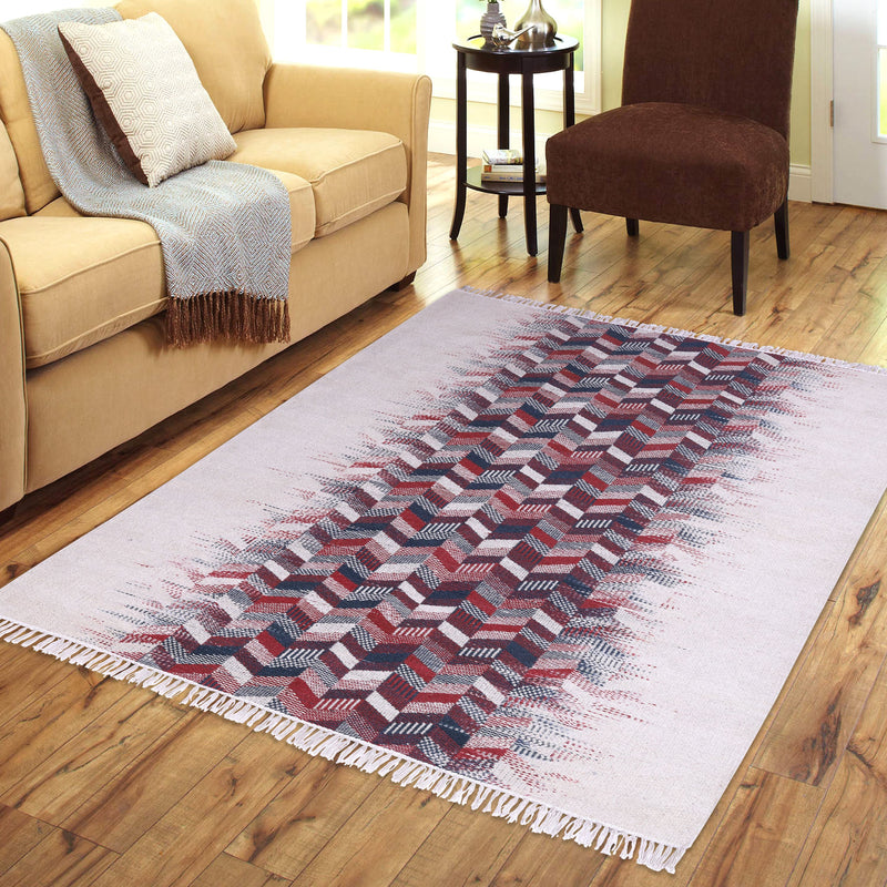 Multi-Colour, Rectangle, Hand-woven Rug.