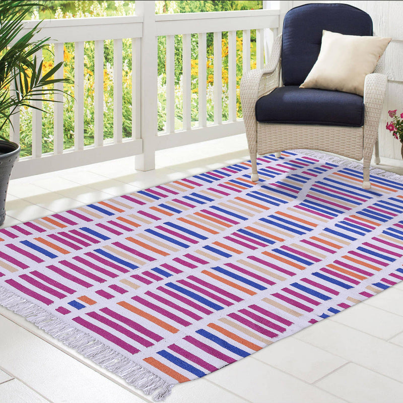 Blue, Orange, and Pink, Stripe Pattern, Cotton PEQURA Rug
