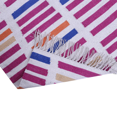 Beige, Blue, Orange, and Pink, Stripe Pattern, Cotton PEQURA Rug