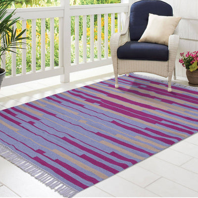 Grey, Pink, and Yellow, Stripe Pattern, Cotton PEQURA Rug