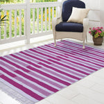 Pink and White, Stripe Pattern PEQURA Rug