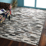 Beige, Dark Grey and Brown, Hand-woven, Leather, PEQURA Rug