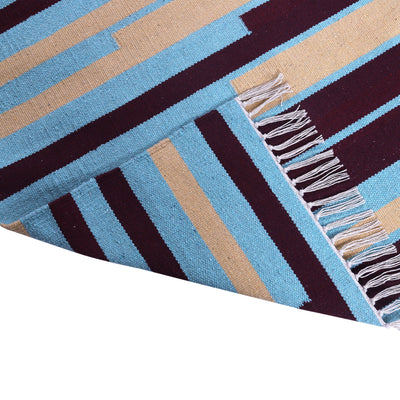 Blue, Turquoise and Yellow, Stripe Pattern PEQURA Rug