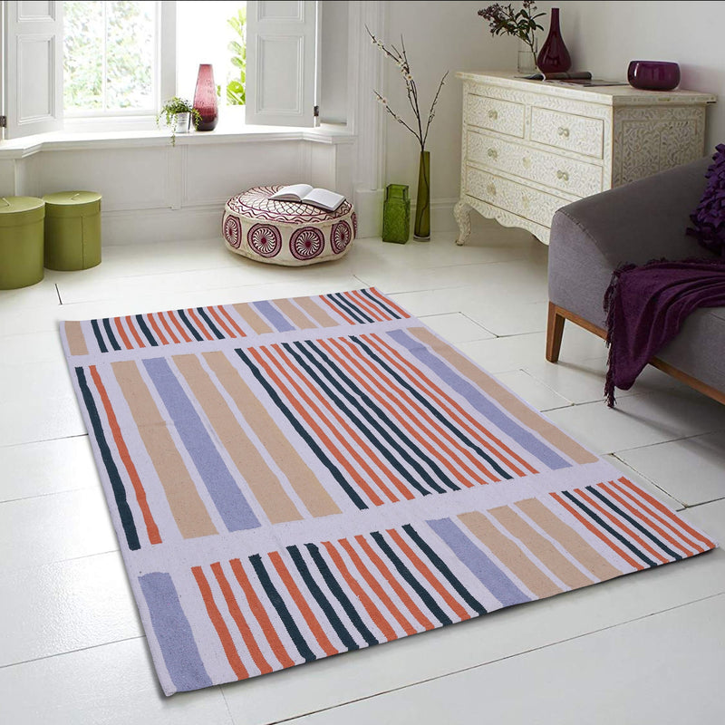 Multi-colour, Cotton, Stripe Pattern, Flat PEQURA Rug