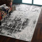 Grey and Light Green, Abstract Print, Rectangle, PEQURA Rug