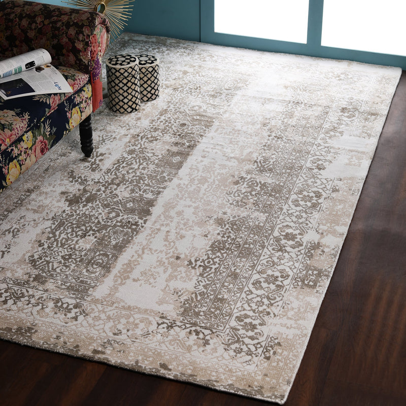 Beige and Brown, Abstract Printed, Hand-Woven PEQURA Rug