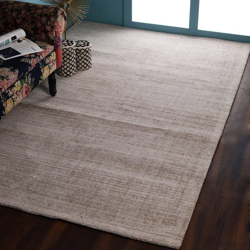 Solid Beige, Abstract, Hand-woven PEQURA Rug