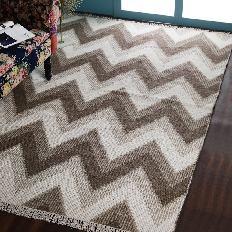 Brown and Beige, Stripe Geometric Pattern, PEQURA Rug