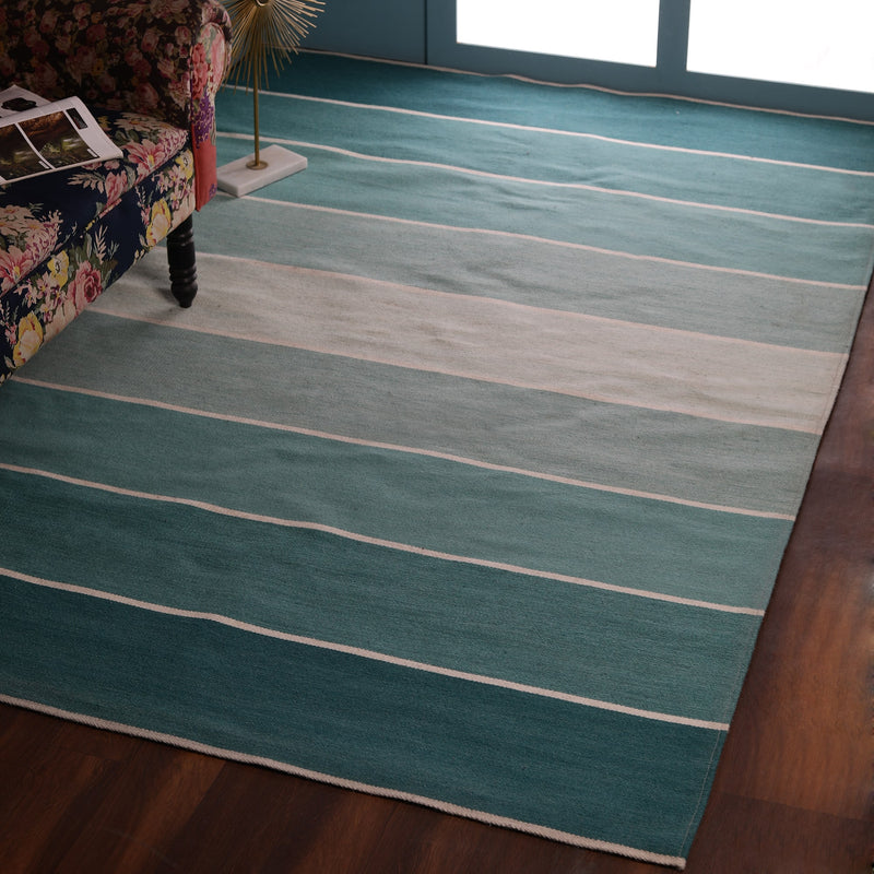 Green Gridded Stripes Wool PEQURA Rug