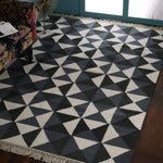 Grey and Dark Grey Contrast, Geometric Pattern PEQURA Rug