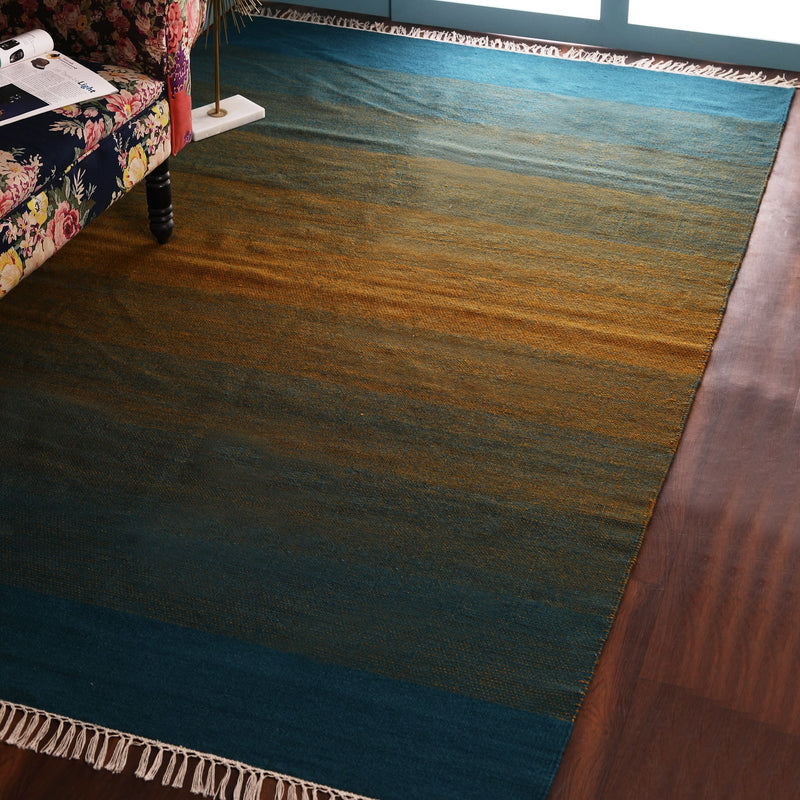 Green, Yellow and Blue, Stripe Pattern PEQURA Rug