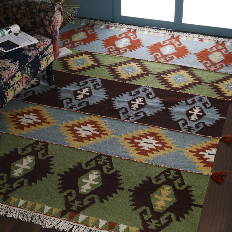 Multi Color, Transitional Geometric Pattern, Wool PEQURA Rug
