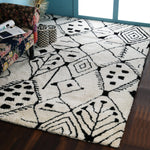 Black and white, Tufted Shaggy PEQURA Rug