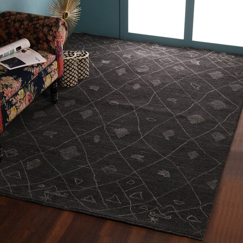 Dark Grey, Tufted, Natural Wool PEQURA Carpet