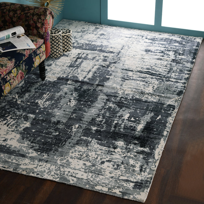Grey, Abstract Printed, Viscose PEQURA Rug