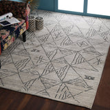Beige and Black, Texture, Tufted, Texture Wool PEQURA Rug