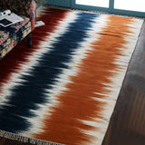 Orange, Blue and Red, Ikat Pattern, Rectangle PEQURA Rug