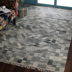 Grey, Hand-woven, Rectangle, Flat Weave PEQURA Rug