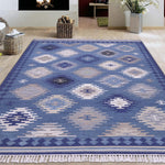 Beige, blue, and brown, Kilim Pattern, PEQURA Rug