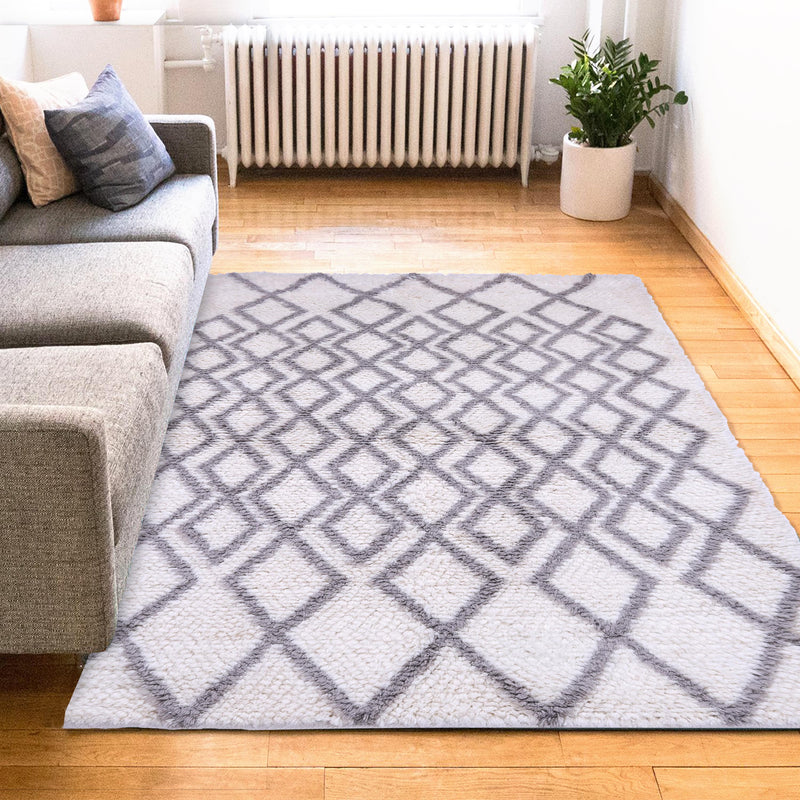 Grey and Ivory, Shags style, Geometric pattern, PEQURA Rug