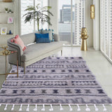 Grey and Beige, Geometric Pattern, Shaggy PEQURA Rug